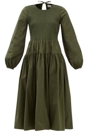Molly Goddard Zari Shirred Cotton-blend Midi Dress - Womens - Dark
