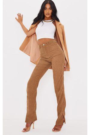 PRETTYLITTLETHING Women Straight Leg Pants - Tall Tan Cord Straight Leg Split Hem Trousers