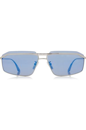 Balenciaga Women Square - Women's Square-Frame Metal Sunglasses - /blue - Moda Operandi