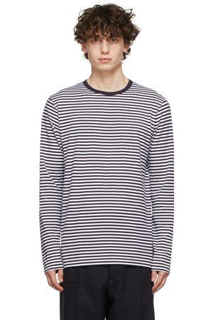 Sunspel Navy & White Striped Long Sleeve T-Shirt