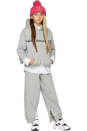 MM6 MAISON MARGIELA Hoodies - Kids Grey Cropped Signature Hoodie