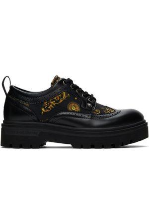 VERSACE Men Formal Shoes - Black Signature Print Syrius Oxfords