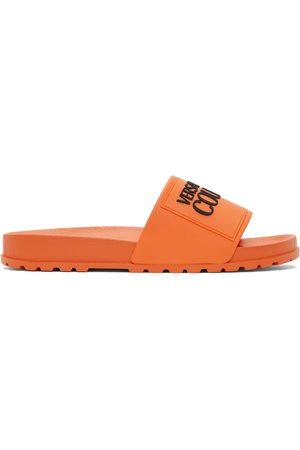 VERSACE Men Sandals - Orange Logo Slides