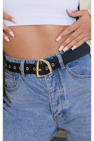 PRETTYLITTLETHING PU Gold Abstract Buckle Belt
