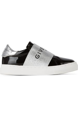 Givenchy Sneakers - Kids Black Patent Logo Band Sneakers