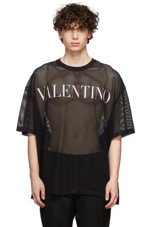 VALENTINO Men T-shirts - Black Mesh Logo T-Shirt