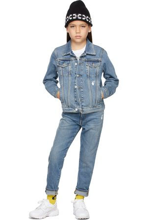 OFF-WHITE Kids Blue Denim Jacket