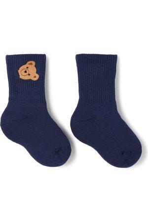 Palm Angels Socks - Kids Navy Mid-High Bear Socks