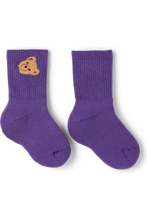 Palm Angels Socks - Kids Purple Mid-High Bear Socks