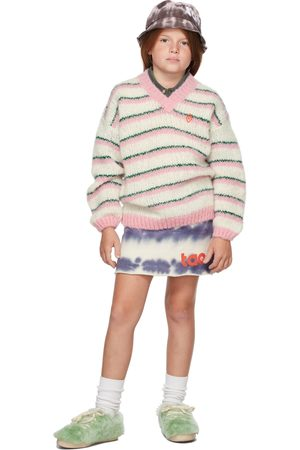 The Animal Observatory Kids White & Pink Stripes Toucan Sweater