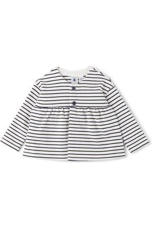 Petit Bateau Baby White & Navy Striped Cardigan