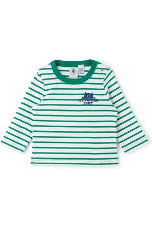 Petit Bateau Baby Green & White Striped Long Sleeve T-Shirt