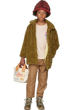 Repose AMS Chinos - Kids Tan Check Chino Trousers