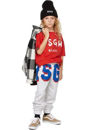 Msgm T-shirts - Kids Red Brush Logo T-Shirt