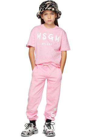 Msgm Kids Pink Brush Logo T-Shirt