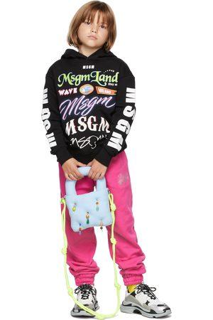 Msgm Kids Black Multilogo Hoodie