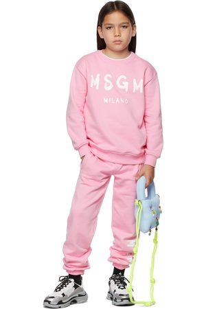 Msgm Kids Pink Brush Logo Lounge Pants