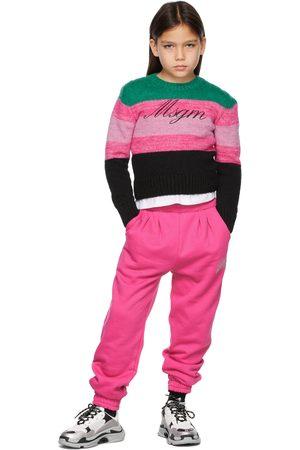 Msgm Kids Pink & Green Striped Logo Sweater