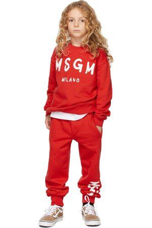 Msgm Sweatshirts - Kids Red Brush Logo Sweatshirt