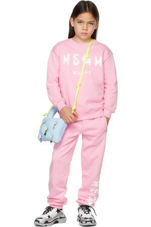 Msgm Kids Pink Brush Logo Sweatshirt