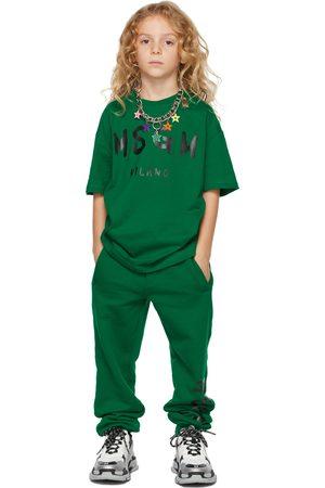 Msgm Kids Green Brush Logo T-Shirt