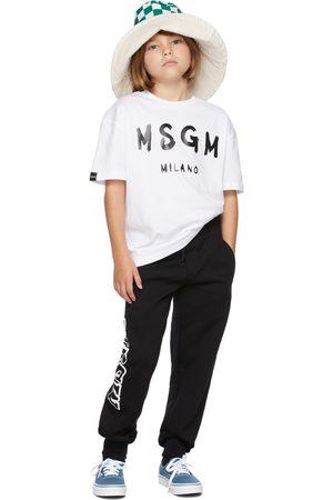 Msgm Kids White Brush Logo T-Shirt