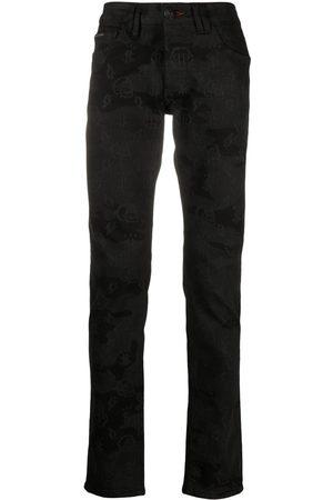 Philipp Plein Men Slim - Skull-print logo jeans
