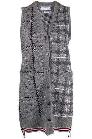 Thom Browne Women Cardigans - Sleeveless checked cardi-coat - Grey
