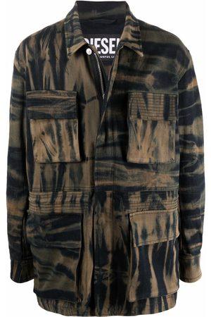 Diesel Men Denim Jackets - Tie-dye denim field jacket