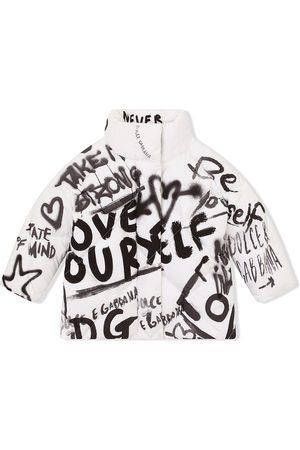 Dolce & Gabbana Quilted graffiti-print coat