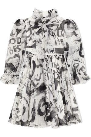 Dolce & Gabbana Girls Printed Dresses - Graffiti-print silk dress