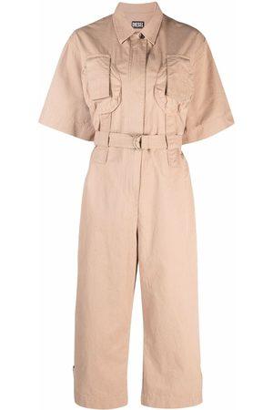 Diesel Short-sleeve belted-waist jumpsuit - Neutrals