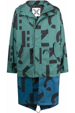Kenzo Parkas - Logo-print zipped parka coat