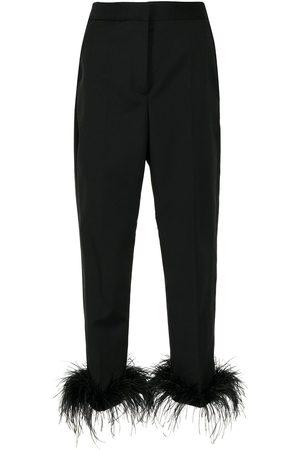 Rebecca Vallance Kawani feather-trim cropped trousers
