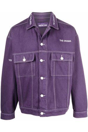 Etudes Men Denim Jackets - Logo-embroidered denim jacket
