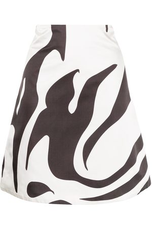 Maximilian Flame-print silk skirt
