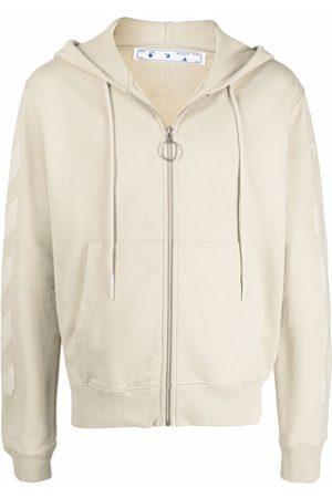 OFF-WHITE Men Hoodies - Arrow print zipped hoodie - Neutrals