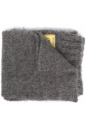 RAF SIMONS Logo patch knit scarf - Grey