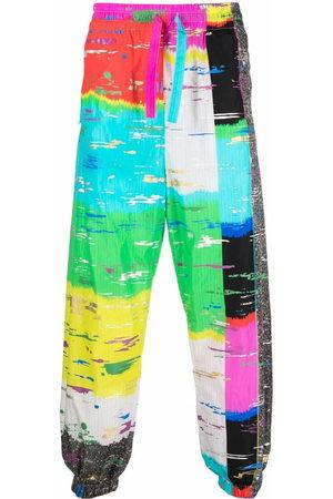 Dolce & Gabbana Men Wide Leg Pants - Glitch-print wide-leg track pants