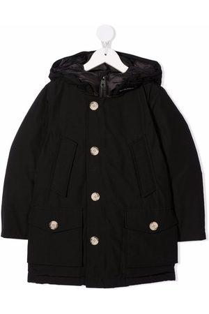 Woolrich Collar-logo hooded puffer jacket