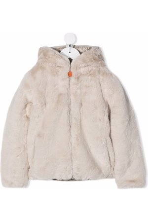 save the duck Hooded zip-up faux-fur coat - Neutrals