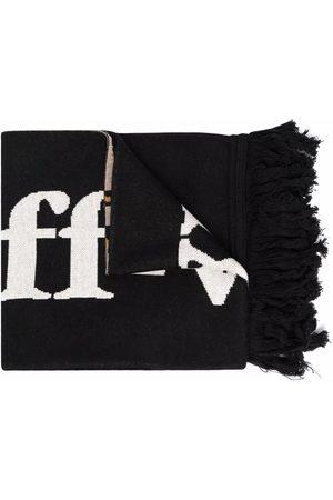 OFF-WHITE Logo leopard print fringed scarf