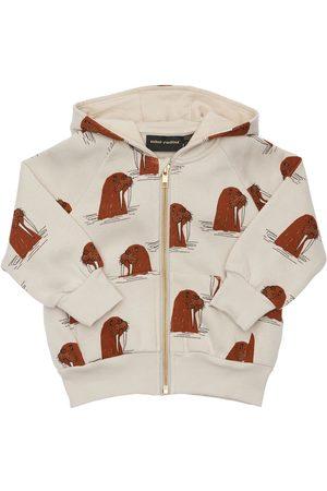 Mini Rodini Boys Hoodies - Walrus Print Cotton Sweatshirt Hoodie