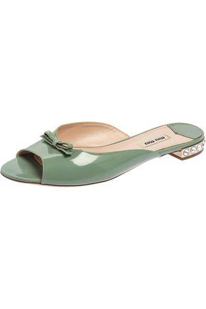 Miu Miu Patent Leather Bow Detail Jeweled Heel Slide Flats Size 40