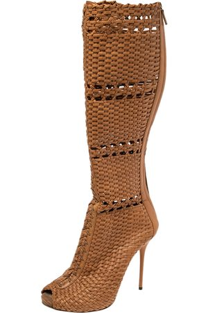Gucci Woven Leather Peep Toe Knee Length Boots Size 40