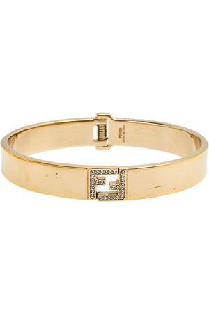 Fendi Sta Crystal Logo Tone Cuff Bracelet
