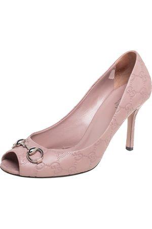 Gucci Ssima Leather Horsebit Peep Toe Pumps Size 39.5