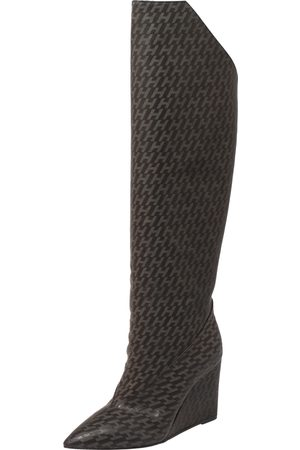 Hermès Grey/Black Monogram Leather Wedge Over The Knee Boots Size 37