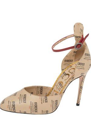Gucci Leather Apollo Logo Daisy Ankle Strap Sandals Size 37.5