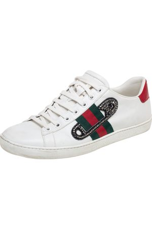 Gucci Leather Ace Safety Pin Embellished Low Top Sneakers Size 38.5